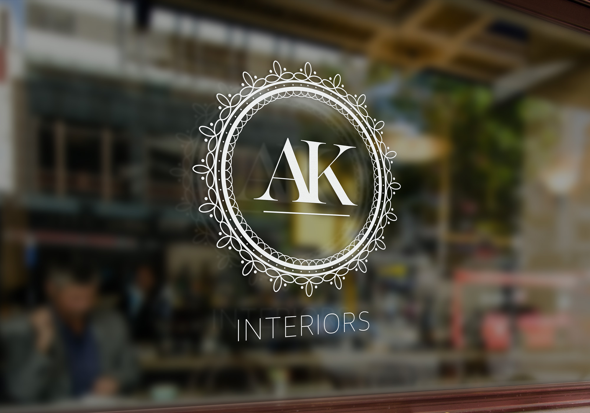 AK Interiors - Window Storefront Sign